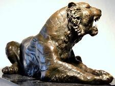 Hechos a mano Tigre de bronce a mármol zócalo firmado chico Barye