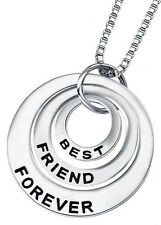 Best Friend Forever Silver Tone Neck Silver BFF Friends Christmas Holiday Gift