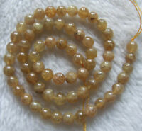 """6mm 8mm 10mm Natural Yellow Apatite Round Loose Beads 15.5"""""""