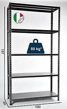 SCAFFALE METALLO KIT Bulloni  5 Ripiani 100 x 40 x 187 ANTRACITE 400Kg Portata