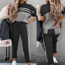 Damen Trainingsanzug Hausanzug Sportanzug Kurzarm T-Shirt Hose Jogginganzug DE