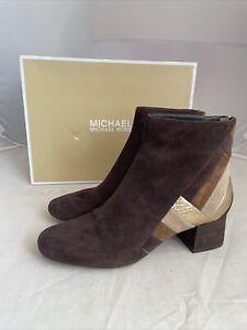 Michael Kors Rosamund Bootie Brown Patchwork Suede Shoes Boho Size UK 7 H16