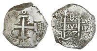 Potosi, Bolivia, Silver Cob 8 Reales, 1747q, Spanish Colonial Coinage