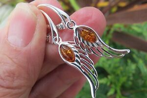Amber earrings angel wing Sterling Silver Lithuanian wings oval amber fossil