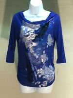 NWT STYLE & CO. Women's Blue 3/4 Sleeve Graphic Top Blouse Size: PS
