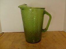 "Vintage Forest Green Crackle glass pitcher 36 oz  8 3/4"" Anchor Hocking?"