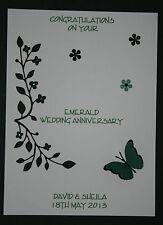 HANDMADE PERSONALISED EMERALD WEDDING 55th ANNIVERSARY CARD