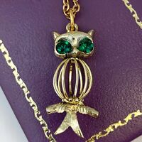 VINTAGE OWL NECKLACE PENDANT GREEN RHINESTONE EYES GOLD TONE METAL CHAIN