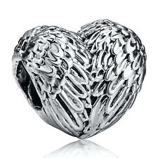 Heart Feather Silver Charms European Bead For 925 Sterling Bracelet Bangle