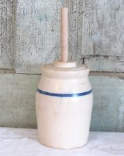 1 Quart Blue & White Stoneware Crock Butter Churn Table top Salesmans Sample Sz
