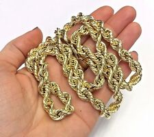"Stunning! Solid 10K Yellow Gold 26"" 8mm Wide Long Rope Chain Necklace 