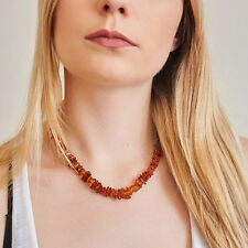 Genuine Natural Baltic Amber Necklace Cognac Brown Beads Sterling Silver Clasp