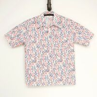 VTG Jantzen 100 Mens Shirt L White Red Blue Floral Print 3 Button Polyester USA