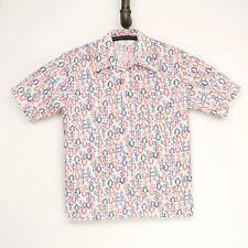 Vintage Jantzen 100 Camisa Hombre L Blanco Rojo Azul Estampado Floral 3 Botones