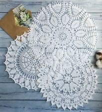 3 PCs Hand crocheted lace white doily cotton handmade vintage home decor