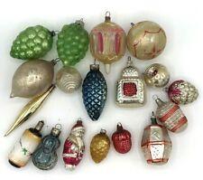 Vintage 17 Antique Glass Christmas tree ornaments 1920s Fragile Rare *1010