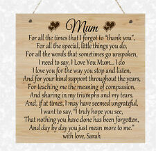 Personalised Wooden Plaque Mum Nanny Nan Grandma Love Home Mother's Day Poem