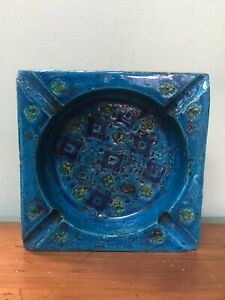 Gorgeous! Vintage Mid Century BITOSSI Italy Pottery RIMINI BLUE Ashtray