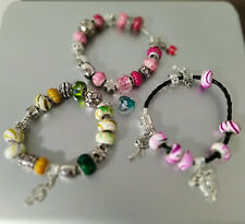 3pcs New Silver Charm Glass Beads Bracelets