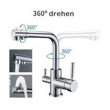 360° Drehbarer Küchenarmatur Trinkwasserhahn Wasserhahn Verchromt Zwei Hebel