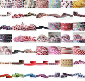 "Hot 7/8""22mm 2/5/10/50/100 yards Printed Grosgrain Ribbon Hair Bow Sewing DIY"