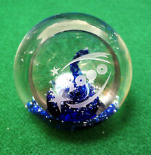 CORNING MUSEUM GLASS BUBBLE PAPERWEIGHT CMOG 2000 ETCHED CLEAR & COBALT BLUE
