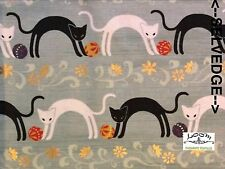 RPG266 Kitty Kitten Black Cat Siamese Asia Floral Japan Cotton Quilt Fabric