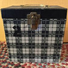 """Black & White Checkered 7"""" Record Box Tablecloth"""