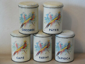 Vintage FRENCH screenprinted CANISTER SET - Pheasants & floral decor - 1960's