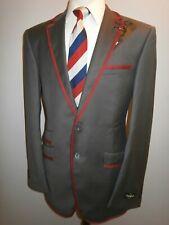 New Grey Boating Blazer Suit Jacket 38 L Red Trim Regatta College Sport Coat