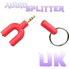 3.5mm Stereo Audio Jack Earphone Headphone 2 Way Y Splitter Adapter Keyring REDU
