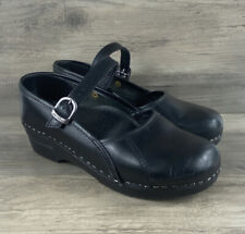 Dansko Black Leather Mary Jane Shoes Clogs Comfort Work Professional Size 37