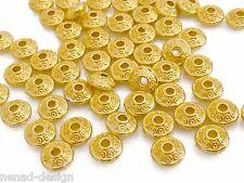 100 Metallperlen Rondelle goldfarbig 6x3mm Perlen Spacer nenad-design AN629