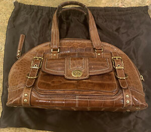 EUC Coach Croc Embossed Leather Satchels Dual Handle Brown
