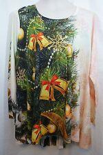 Women's Plus 1X Christmas Tree Embelished Blouse Top Shirt Unity World Wear NWT