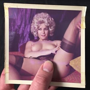 Vtg 70's Pinup Girl Snapshot Risque Nylons Nude Spread Eagle Color Photo lot L