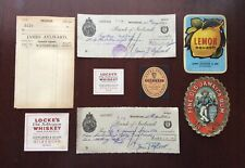 8 x Vintage & Rare Irish Cheques, Invoice, Guinness & Whiskey Bottle Labels Etc.