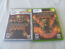 XBOX GAME LOT DOOM 3 RESURRECTION OF EVIL COMPLETE SET OF 2 VIDEO GAMES HORROR >