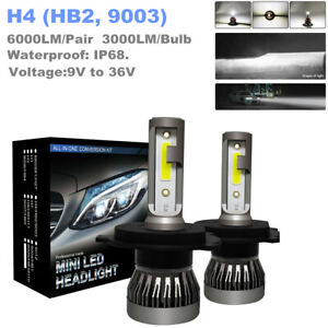 2PCS 9-36V Car 6000K H4 9003 HB2 LED Headlight Lamp 1200W 6000LM Hi/Lo Beam Bulb