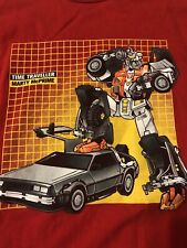 Marty McPrime Back To Future Transformer Mash-up Delorean Shirt Medium Red