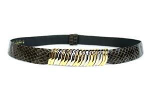 """JUDITH LEIBER Vintage SNAKESKIN Leather Belt GOLD SILVER Buckle 35"""" Adjustable"""