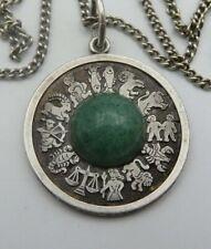 925 Silber Jade Anhänger mit Kette Sternzeichen
