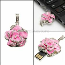 Crystal Pink Rose Shape Pen Drive 8GB USB Flash Memory Stick U Disk Study Gift