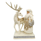 Jim Shore 6006615 Holiday Lustre Santa Reindeer 2020 NEW White Woodland