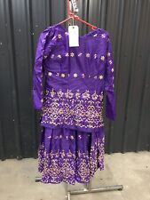 ex hire fancydress costumes - Purple Indian Lady Embroidered Top & Skirt Medium