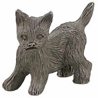 Miniature Cat Kitten Pewter Figurine Mini Pet Kitty Gray Metal Sculpture Vintage