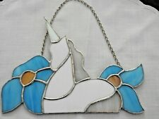 Stained Glass Unicorn with Aqua Flowers Priced To Sell!