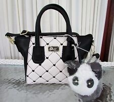 Luv Betsey Johnson Small Quilted Hearts Satchel Crossbody Bag Panda Charm NWT