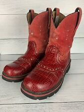 ARIAT Women's Size 9 B Red Fatbaby Leather Cute Cowgirl Western Boots Shoes $195