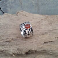 Carnelian Stone Solid 925 Sterling Silver Spinner Ring Meditation Ring Size V916